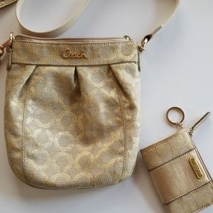 Coach Gold crossbody bag with matching wallet